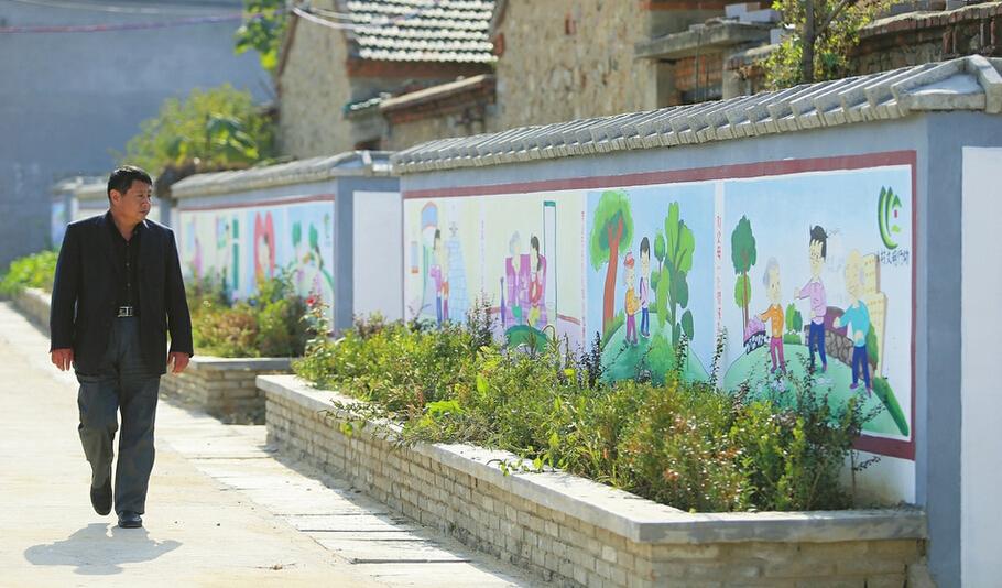 风格独特的围挡和花坛设计让村里的街道两侧变得既整洁又充满生机.图片
